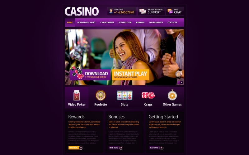 Modelo de site de cassino online