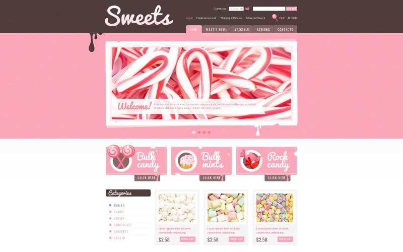 Sweet Shop OsCommerce Template