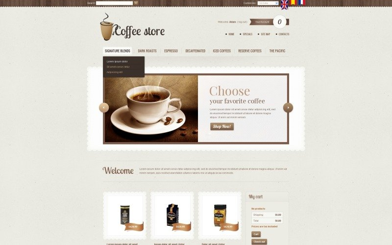 Coffee store PrestaShop Theme