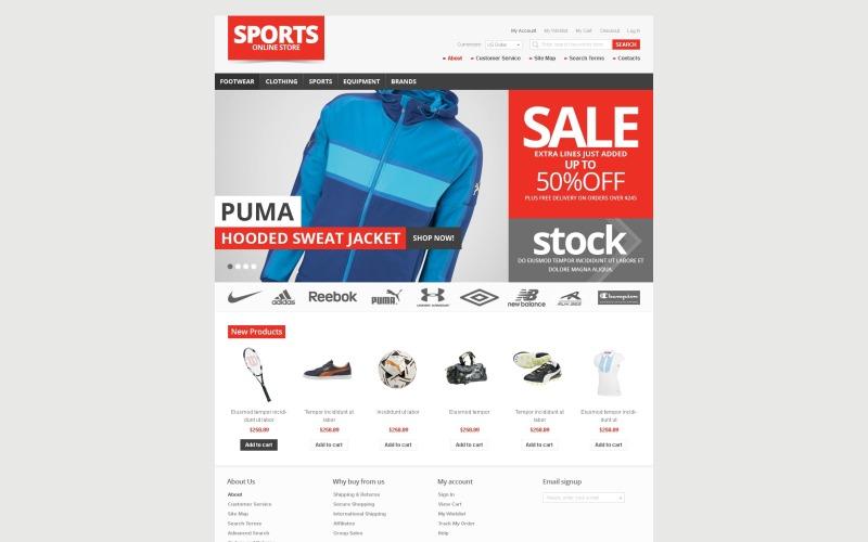 Tema Magento del negozio di articoli sportivi