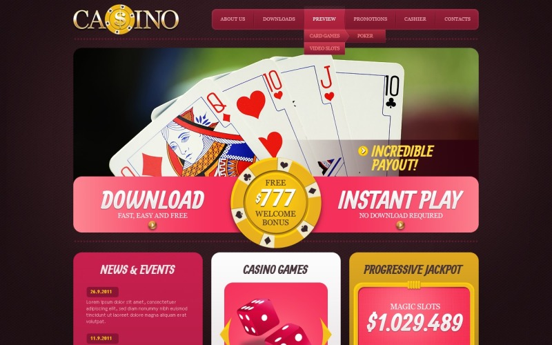 Šablona webových stránek online kasina