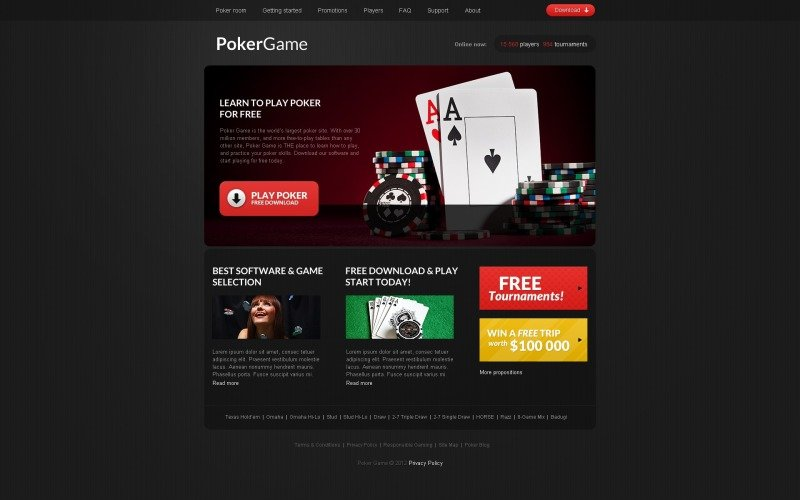 Online Poker Responsive Website Template