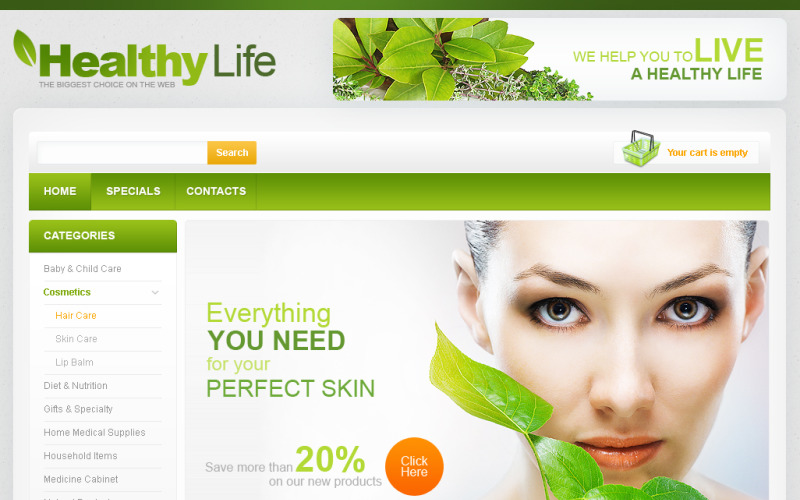 Products for Your Health Flash CMS Template