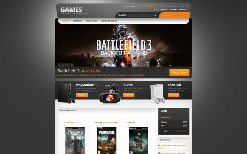 Games for PC and PS PrestaShop Theme