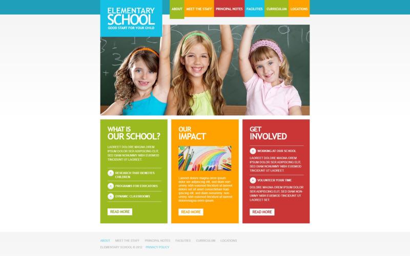 Szablon strony responsywnej szkoły podstawowej
