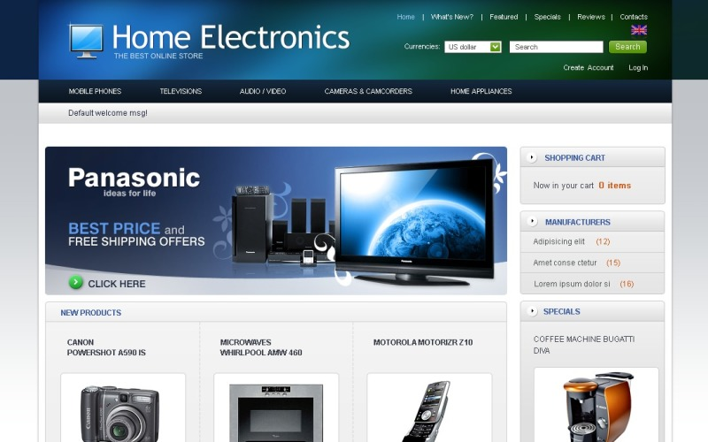 Home Electronics OsCommerce Template
