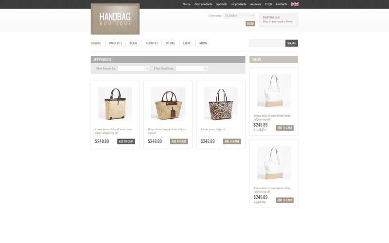 Handtas Boutique ZenCart-sjabloon