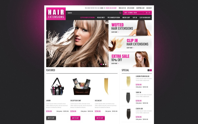 Hair Extensions OpenCart Template