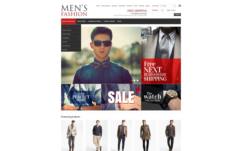 Чоловічий одяг ZenCart шаблон