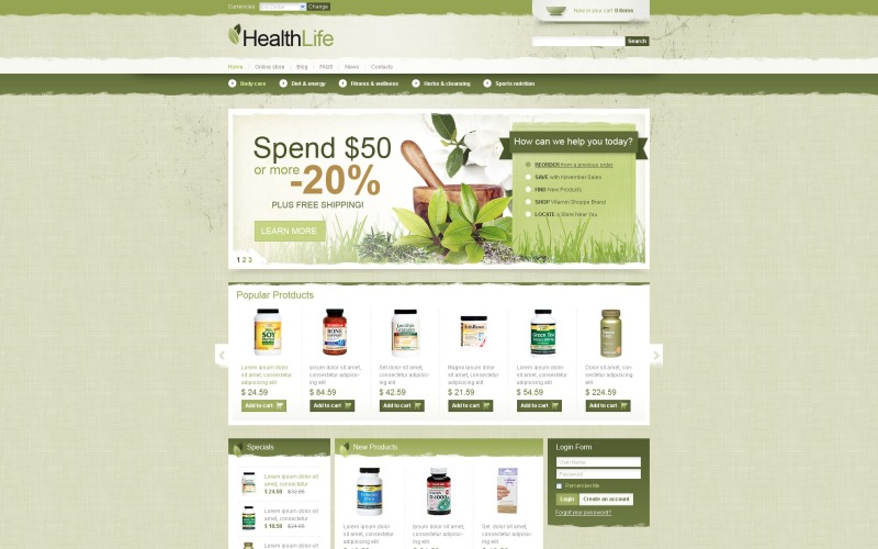 Healthy Life VirtueMart Template