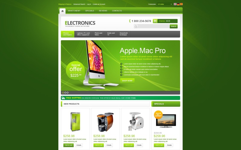 Electronics Store in Green OsCommerce Template