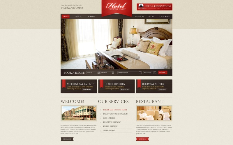 WordPress тема роскошного отеля