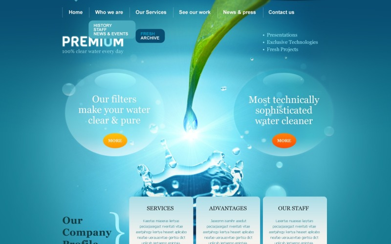 Тема WordPress со скевоморфизмом воды