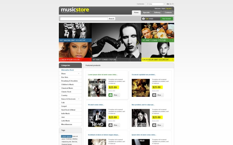 Tema PrestaShop de Music Store