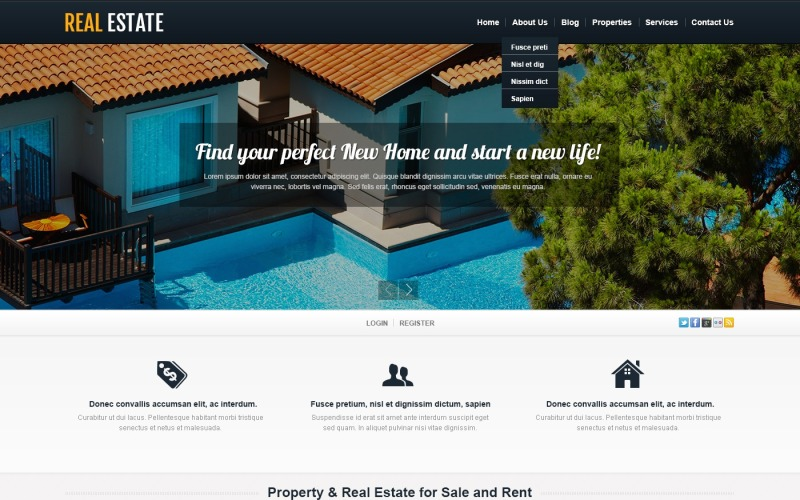 Белая тема WordPress по недвижимости