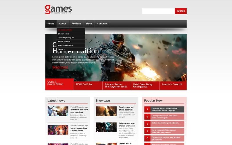 Modèle de site Web réactif pour les jeux