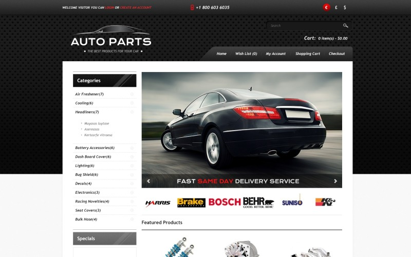 Auto Parts Store OpenCart Template