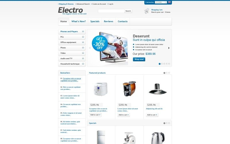 Electronics for Any Needs OsCommerce Template