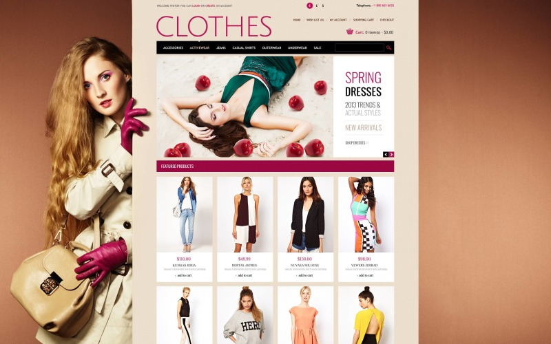 Romantic Clothes Store OpenCart Template