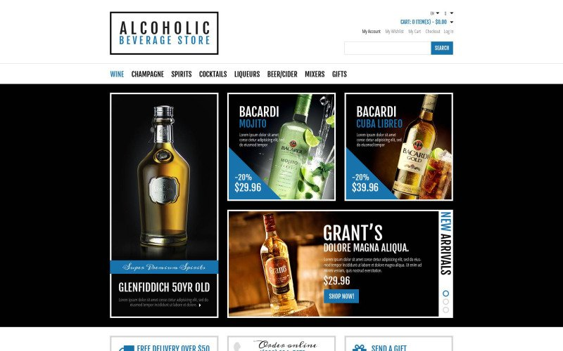 Alcoholic Beverages Store Magento Theme