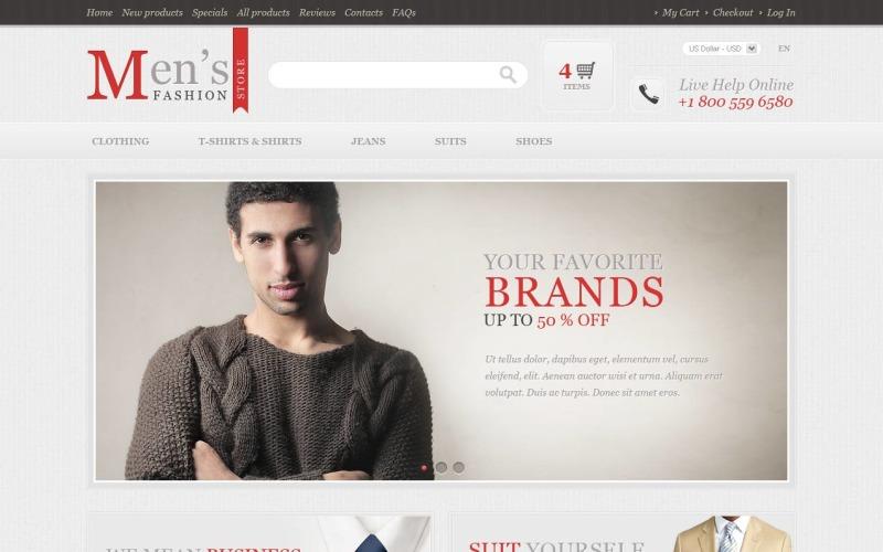 Modelo ZenCart de loja de moda masculina