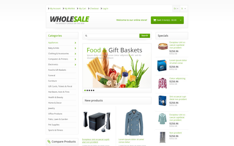 Responsive Wholesale Store Magento Theme