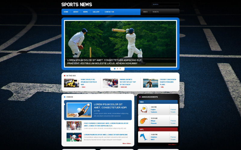 Sports News Responsive Website Template
