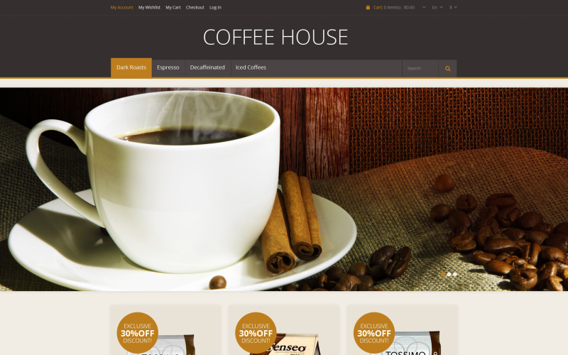 Responsive Coffee House Magento Theme