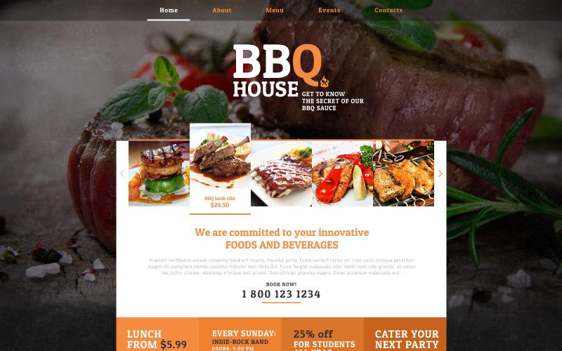 Plantilla de sitio web receptivo para restaurante BBQ
