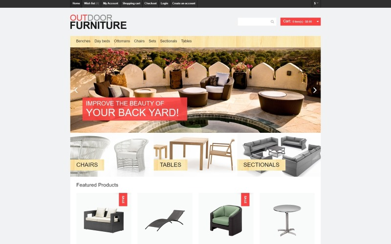 Plantilla OpenCart para muebles de exterior