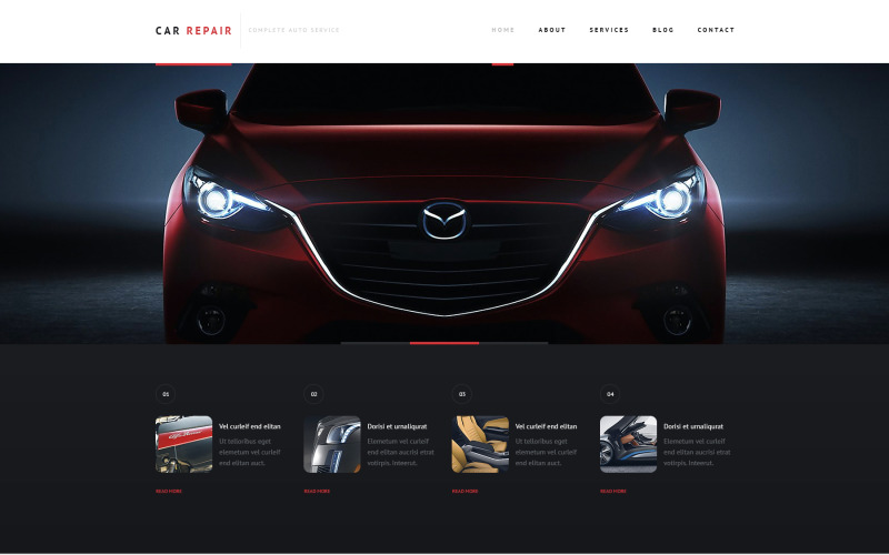 Responsivt WordPress-tema för bilreparationer