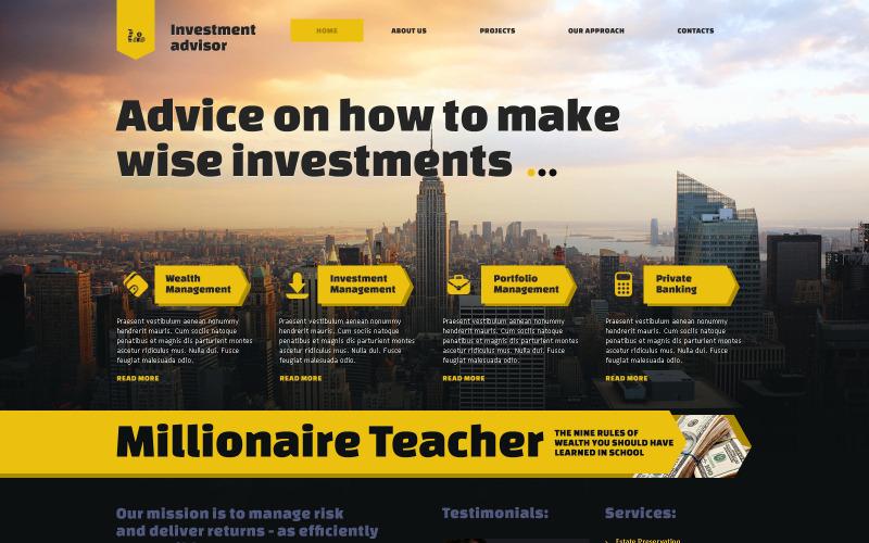Investeringsföretagets responsiva webbplatsmall