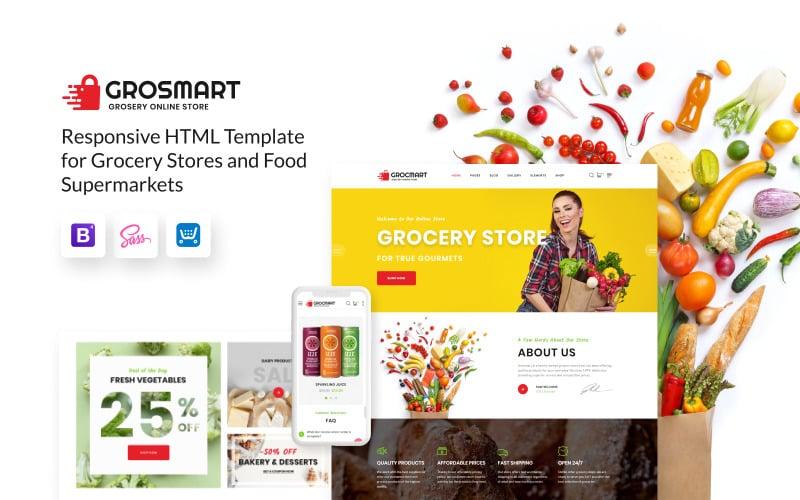 Grocmart - Modelo de site em HTML clássico de várias páginas para supermercados