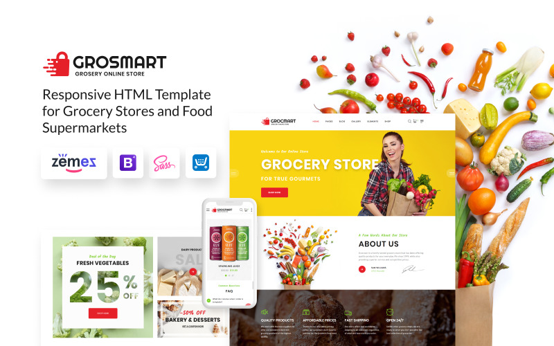 Grocmart-杂货店多页经典HTML网站模板