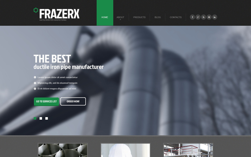 Industriell responsiv webbplatsmall