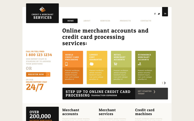 Merchant Services Responsive webbplatsmall