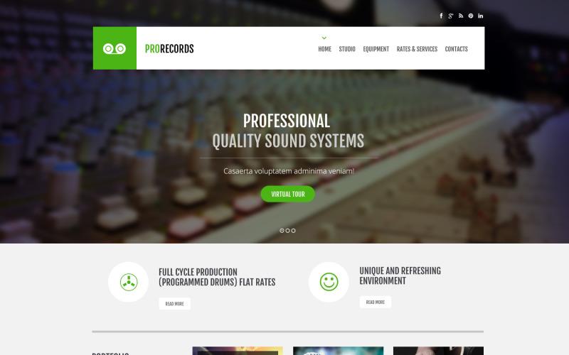 Inspelningsstudios responsiva webbplatsmall