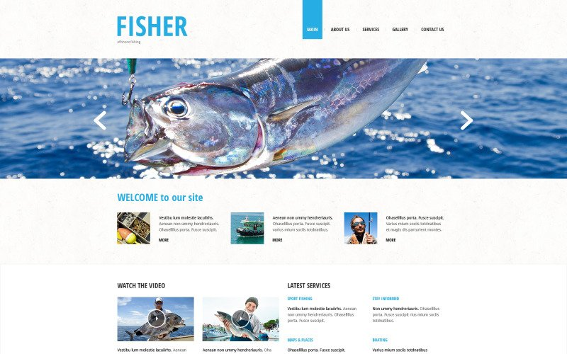 Fiske Responsive webbplats mall
