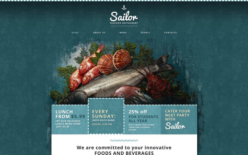 Responsiv webbplatsmall för skaldjursrestaurang