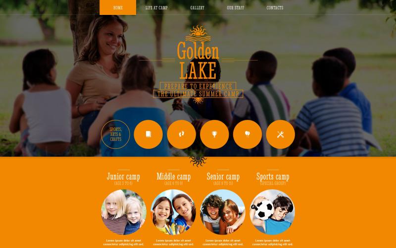 Sommarläger responsiv webbplats mall