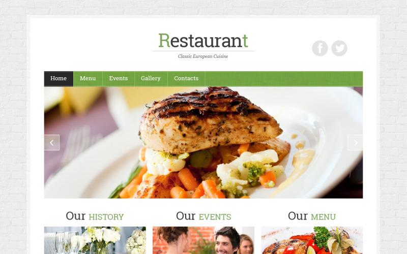 Fransk restaurang responsiv webbplats mall