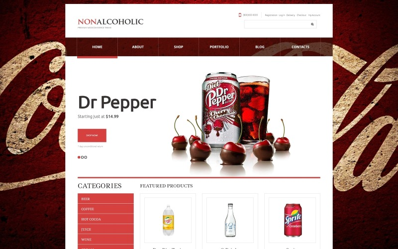 Mat och dryck Responsivt WooCommerce-tema