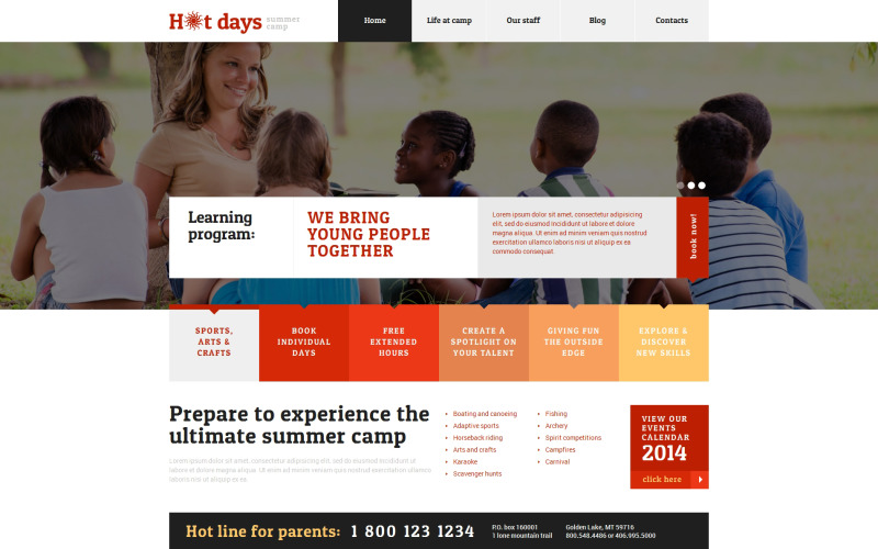 Summer Camp Responsive WordPress theme