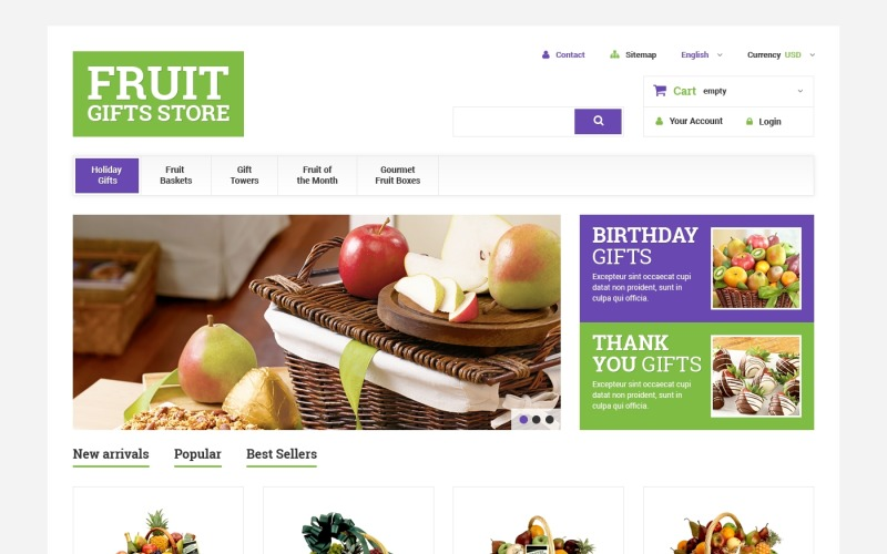 Gyümölcs ajándékkosarak PrestaShop téma