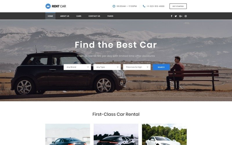 Rent Car - Well-Thought-Out Car Rental Multipage HTML Website Template
