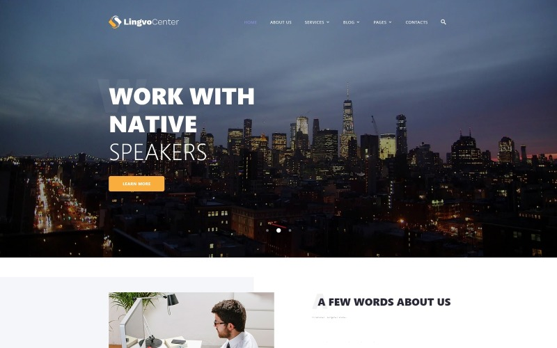 Lingvo Center - Übersetzungsbüro Klassische mehrseitige HTML-Website-Vorlage