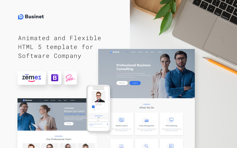 Businet - Adviesbureau Moderne HTML5-websitesjabloon met meerdere pagina's