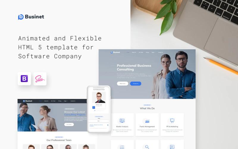 Businet - Modello di sito Web HTML5 multipagina moderno per agenzia di consulenza