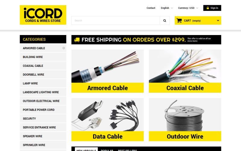 Cords  Wires Store PrestaShop Theme