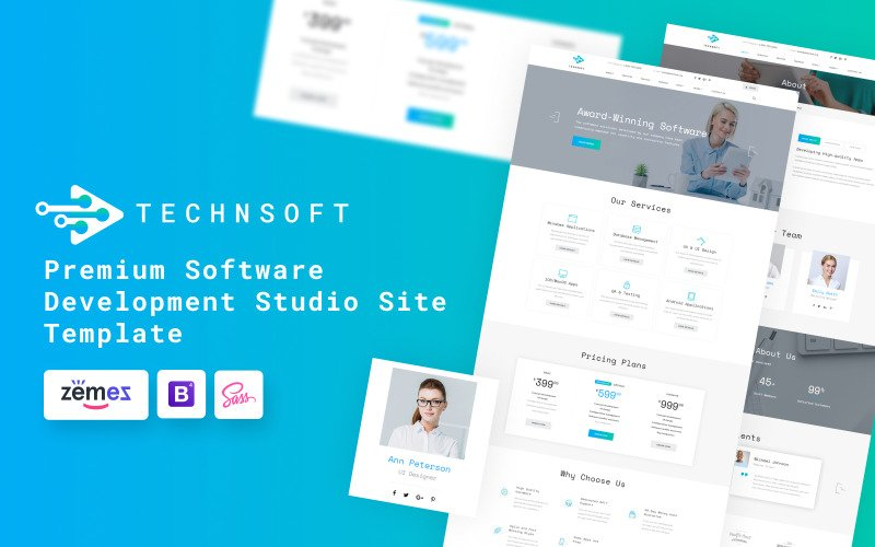 TechSoft - Modèle de site Web de Studio de développement logiciel